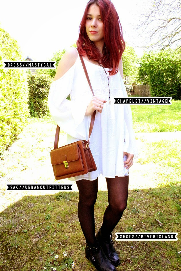 STF, save the friday #2, white, colour, festival, outfits, ootd, coachella, Outfits, enjoyk, red hair, lookbook.nu, nastygal, dress, boots riverisland, urban outfitters, bag, White Festival Outfit,