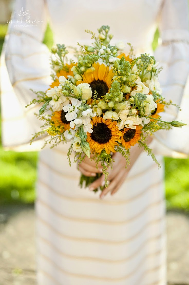 Summer wedding bouquet with sunflowers