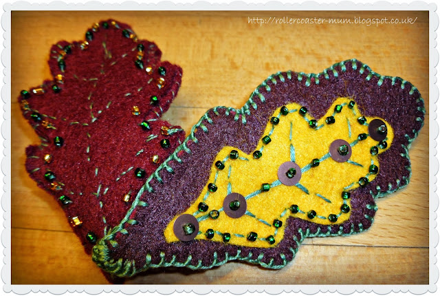 handmade felt oak leaves