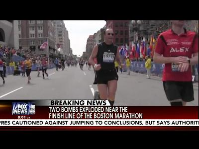 TV Image of Boston Marathon News Footage