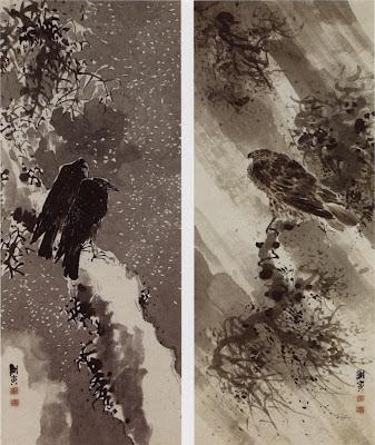 Un faucon noir et deux corbeaux, Yosa Buson