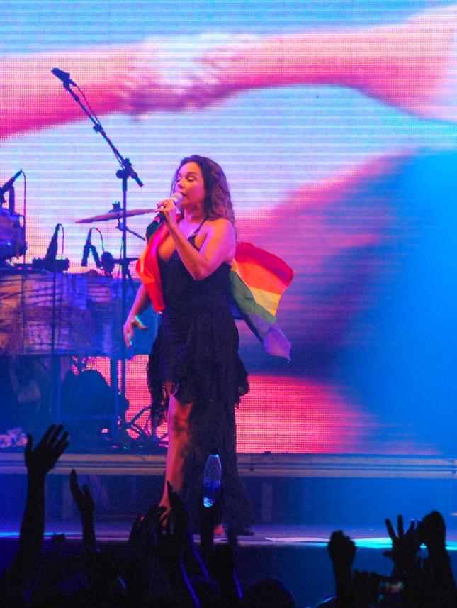 Durante o show, Daniela agitou a bandeira símbolo do movimento LGBT no Brasil e no Mundo (Foto: Marcelo Loureiro/AgNews)