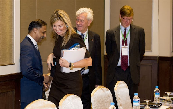 Queen Maxima of the Netherlands gave a speech with unidentified Myanmar lawmakers and educationalists after delivering a speech on the importance of access to financial services at the University of Yangon, Myanmar