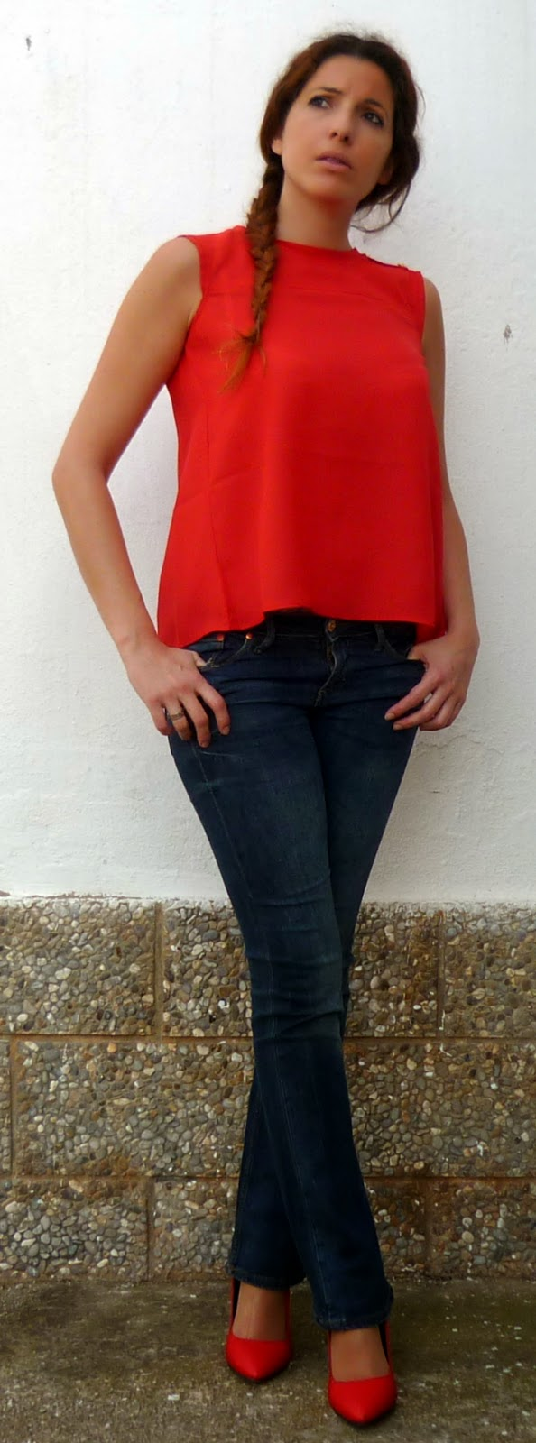 look marinero rojo