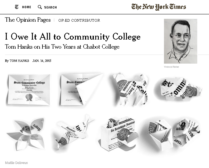 images from New York Times web page relating to article.  Illustrations of diplomas shaped into different objects by Maëlle Doliveux.  Portrait of Tom Hanks by Vivienne Flesher