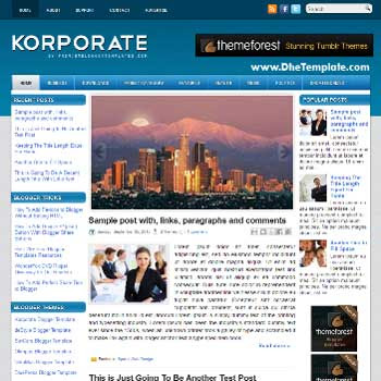 Korporate blog template. template image slider blog. magazine blogger template style