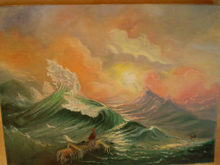 THE NINTH WAVE oil on canvas,copy by  Ivan Aivazovsky, joli, 16/11,8 in