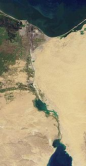 The Suez Canal goes across the western side of the Sinai Peninsula