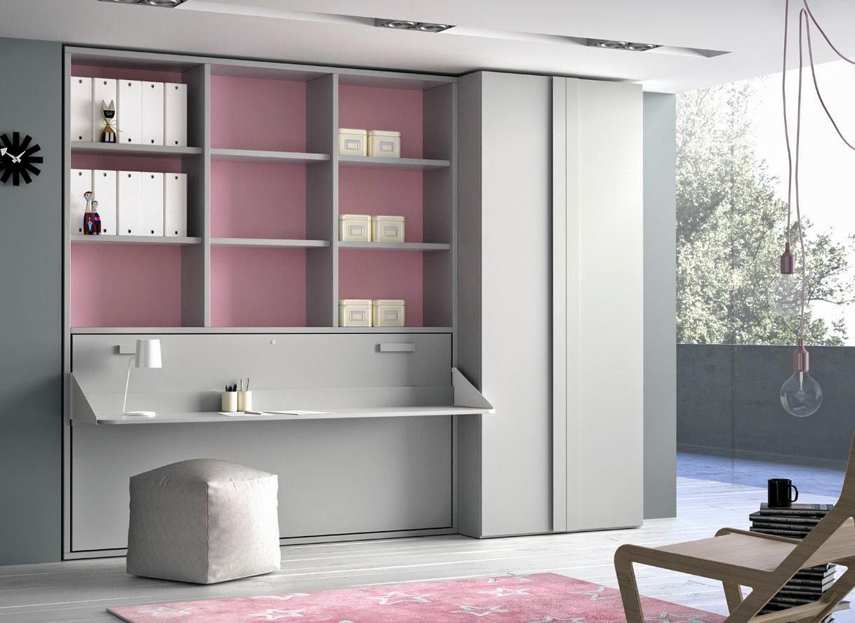 cama abatible con escritorio incorporado y estanteria