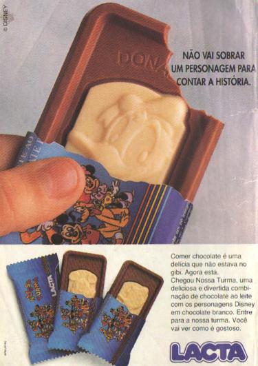 Propaganda do Chocolate Nossa Turma (Lacta) nos anos 90. Série com os personagens da Disney.