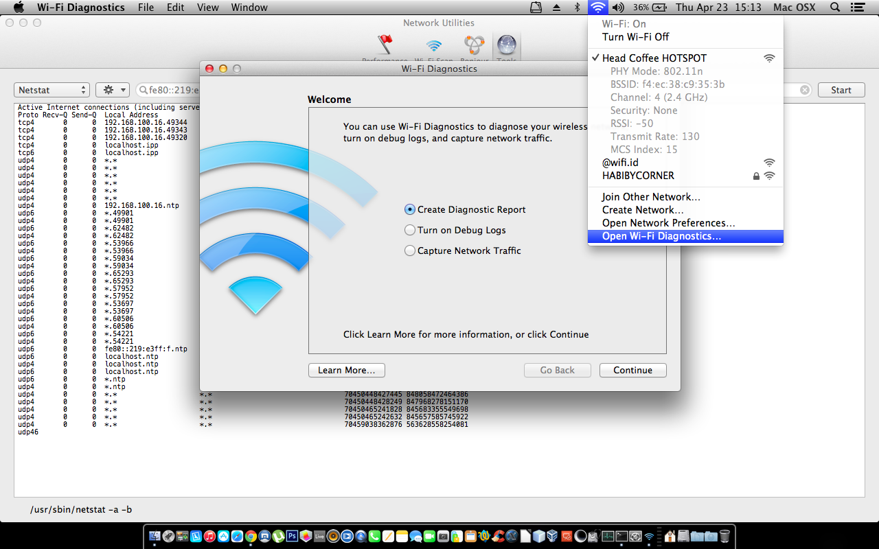 Cara Diagnostics koneksi Wifi di Macbook OS X