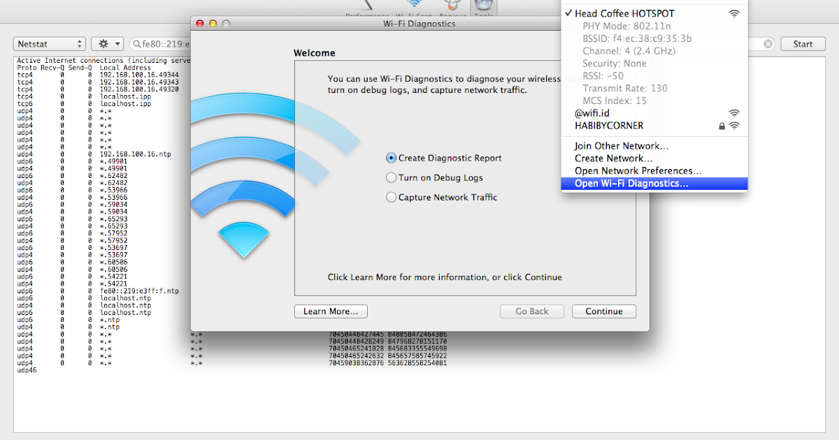 how to get to wifi diagnostics on mac