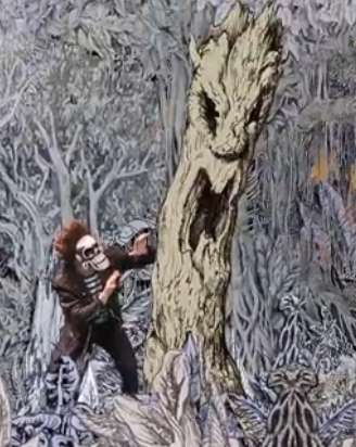 scene from freakscape II with epping forest tree