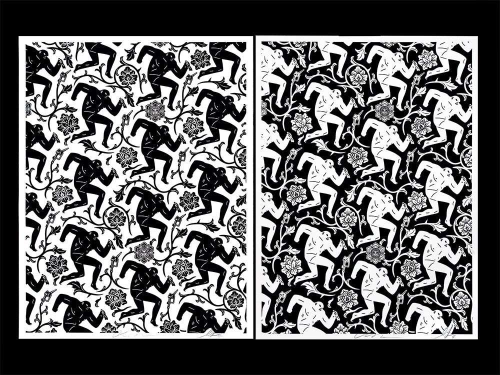 """""""Pattern of Corruption"""" Black & White OBEY Giant Screen Prints by Shepard Fairey & Cleon Peterson"""