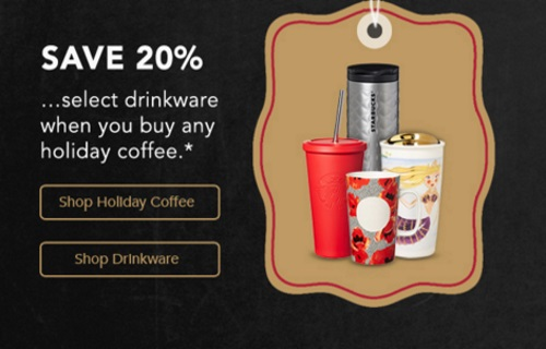 Starbucks Store 20% Off Drinkware When You Buy Christmas Blend