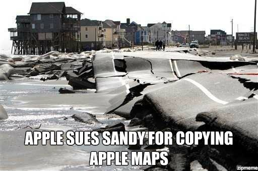 apple sues sandy for copying its maps