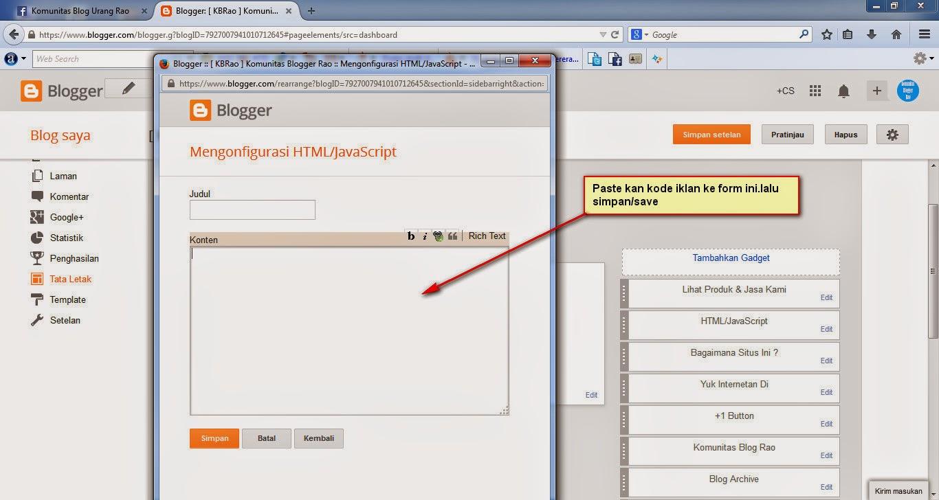 Cara Memasang Iklan Di Blog
