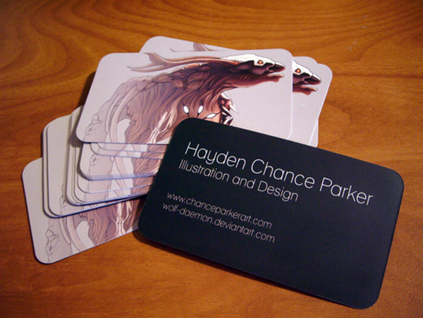 hayden chance parker illustration business cards on the table