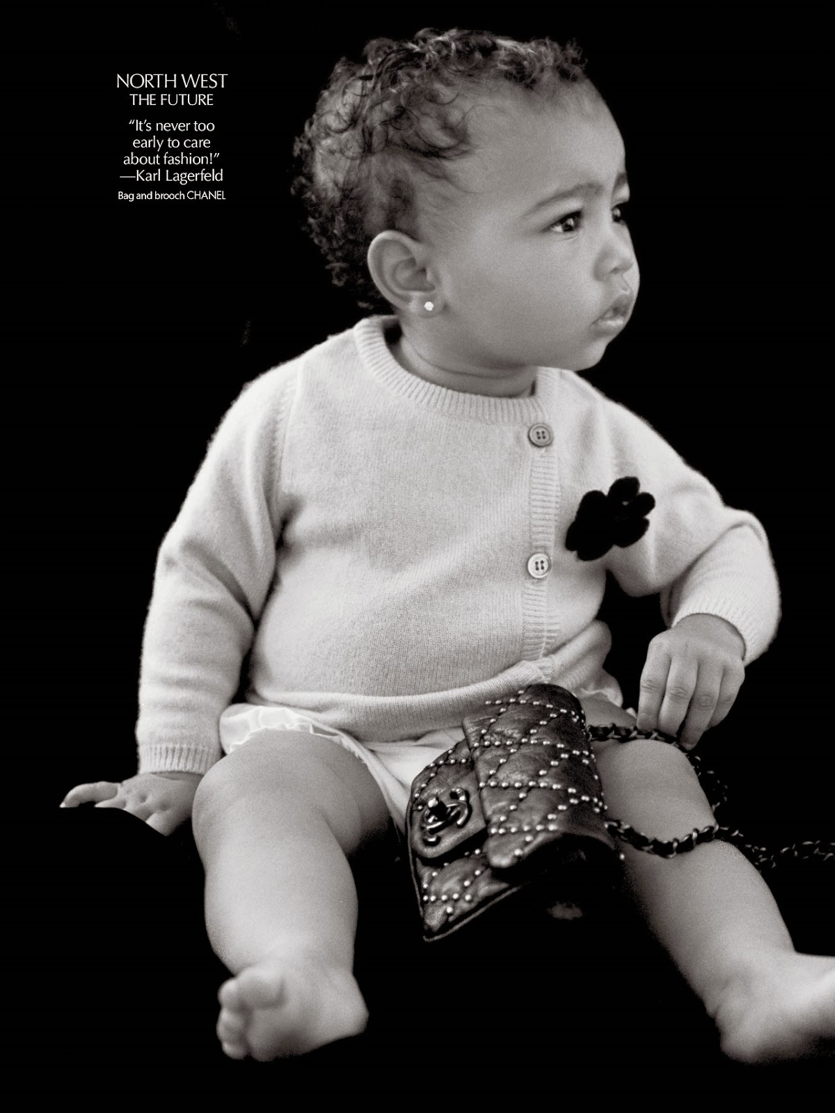 One year old North West wears Chanel for her modelling debut for the CR Fashion Book