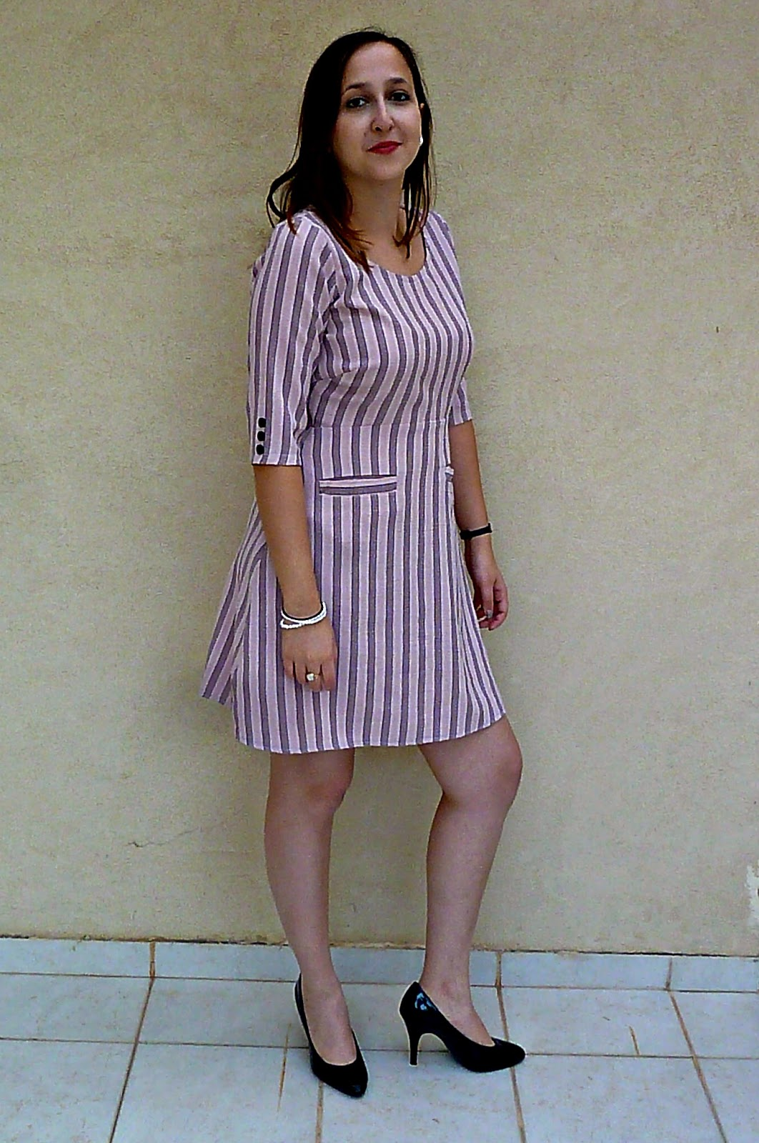 60's dress, welt pockets, dress with welt pockets, long sleeved dress