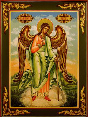 Cuadro del santo Angel de la Guarda en una nube sobre los campos.