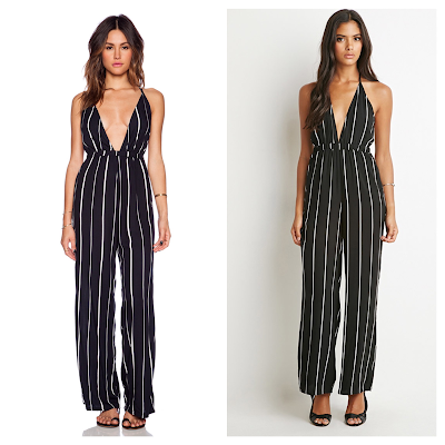 F21Finds Joselin of le Pretty Stellar and Jamie Chung of What the Chung in Faithfull the Brand Black Sarah Stripe Shutterbabe Jumpsuit vs Forever 21 Striped Halter Jumpsuit