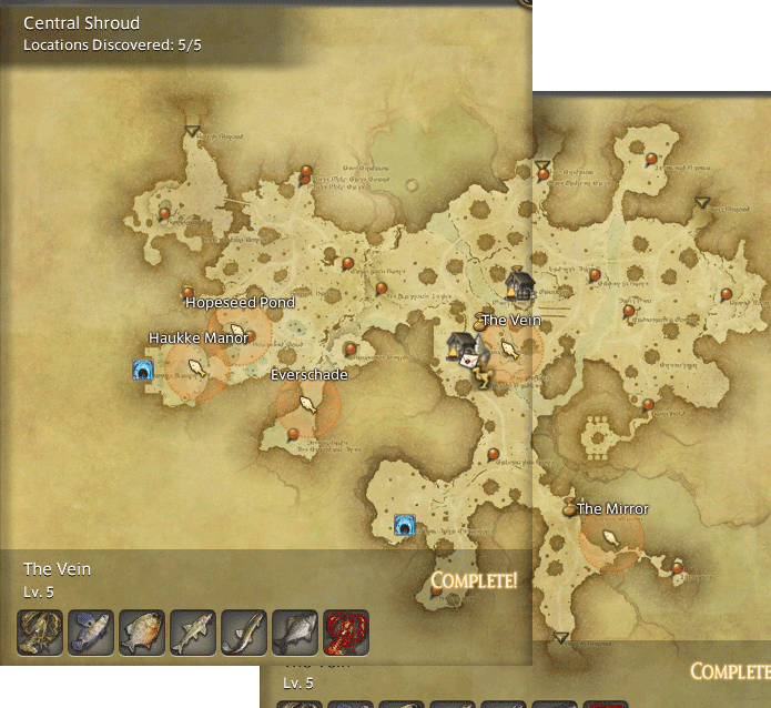final fantasy 14 fishing spot maps locations gamingreality