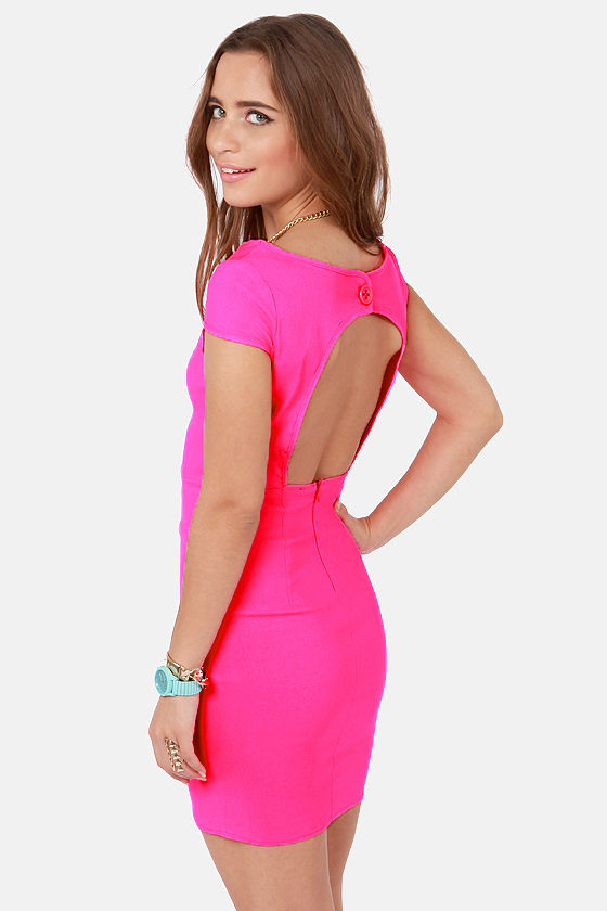 Prom Dresses Fire With Fire Backless Neon Pink Dress