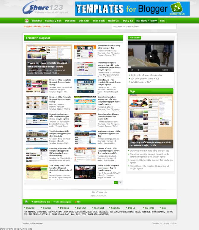 Share template blogspot dạng tin tức, giải trí cực đẹp