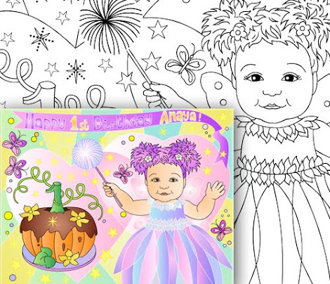 ABBY CADABBY THEME * BIRTHDAY PARTY COLORING PAGE