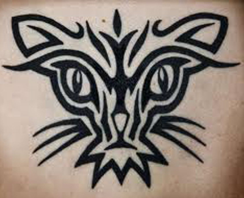 Simple Tribal Animal Cat Tattoo Designs