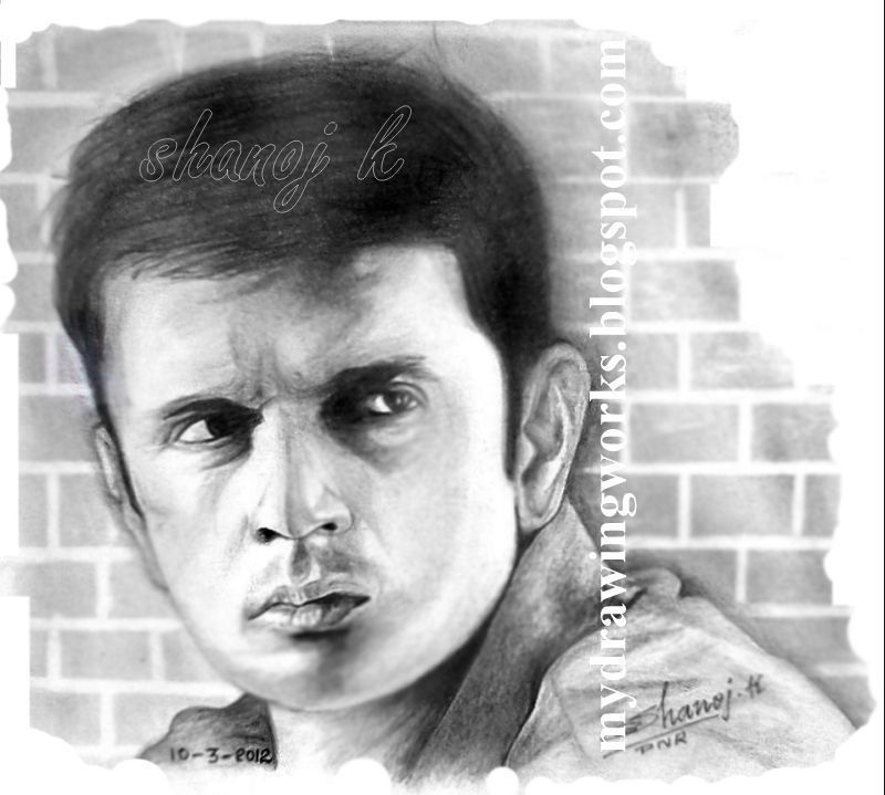 Rahul dravid pencil drawing rainbow the colour of life
