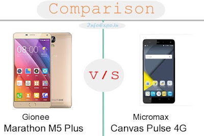 Gionee Marathon M5 Plus versus Micromax Canvas Pulse 4G specifications and features comparison RAM,Display,Processor,Memory,Battery,camera,connectivity,special feature etc. Compare Micromax Canvas Pulse 4G and Gionee Marathon M5 Plus in all features and price,Shopping offers,coupens.