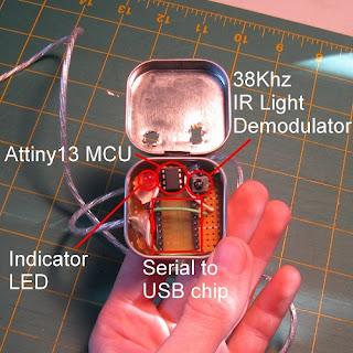 Receptor de controle remoto AVR USB
