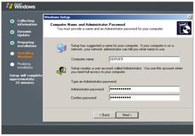 Tampilan Computer Name adn Administrative Password