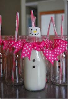 Muñecos de Nieve con Botellas de Vidrio Recicladas