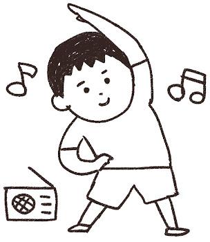 ラジオ体操のイラスト「夏休みの男の子」線画