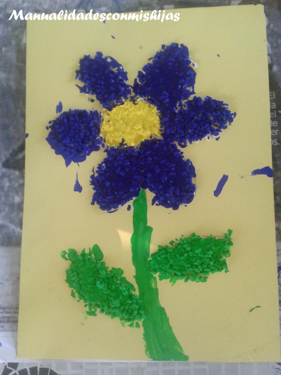 Manualidades con mis hijas: Dibujos con arroz pintado (Flor y estrella)