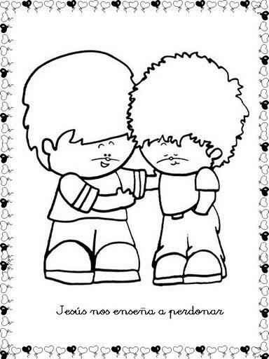 Dibujo de Dos niños aprendiendo el Perdón para Colorear ~ Colorea el ...