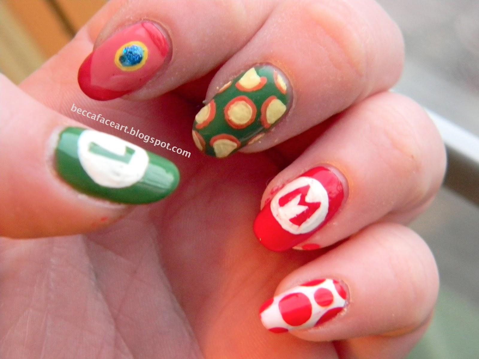 Becca Face Nail Art: Mario Bros. Nails