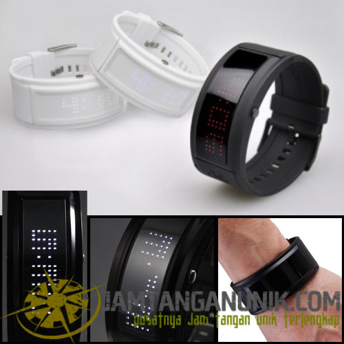 led watch black dice jam tangan bahan karet