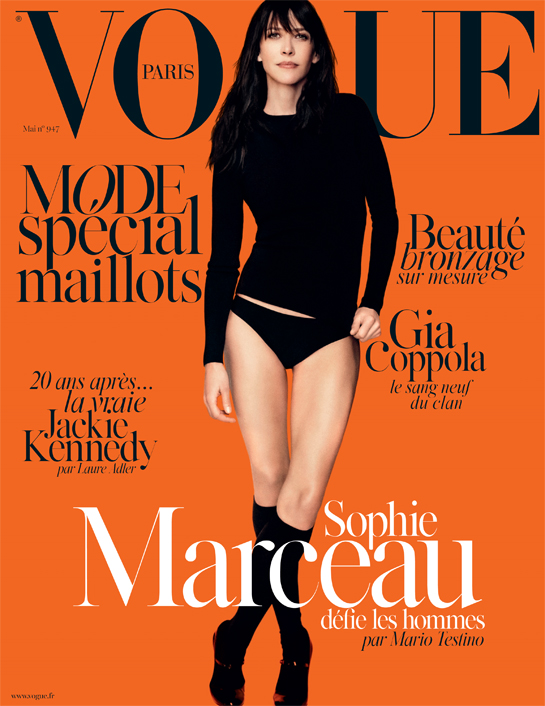 Sophie Marceau is chic in black for the Vogue Paris May 2014 issue