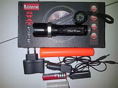 Senter Police Swat 48.000 Watt Flashlight Led + Kompas