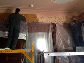 Art conservators at work, historic interiors, textiles, conservation, repair, restoration