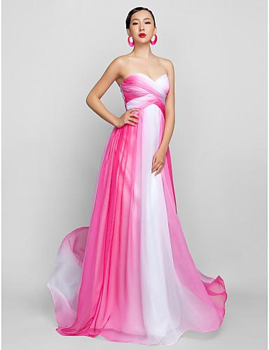 Vestido de Noche Gasa Largo Rosa y Blanco