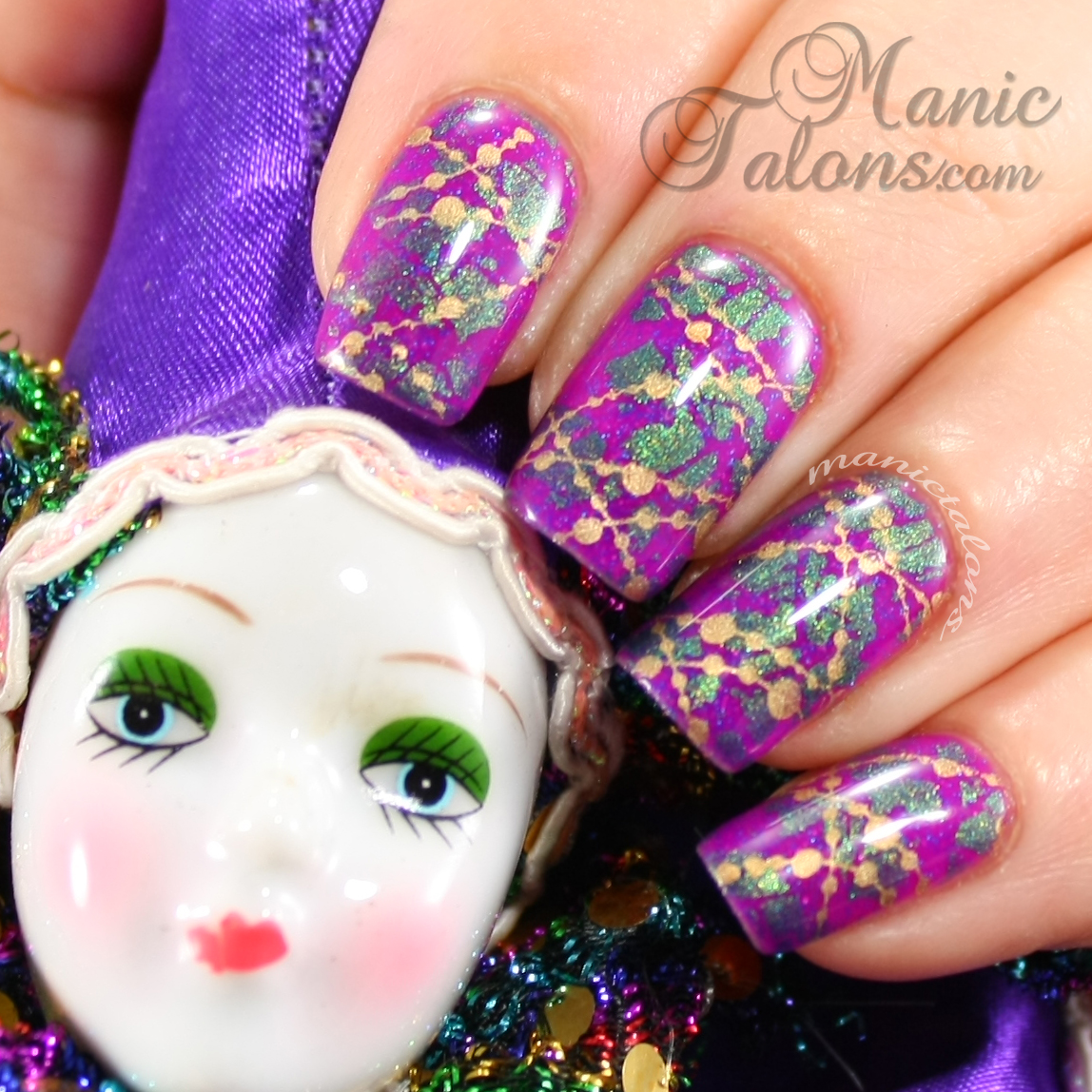 Manic Talons Nail Design: Mardi Gras Nail Art over Gelaze Flying Dragon