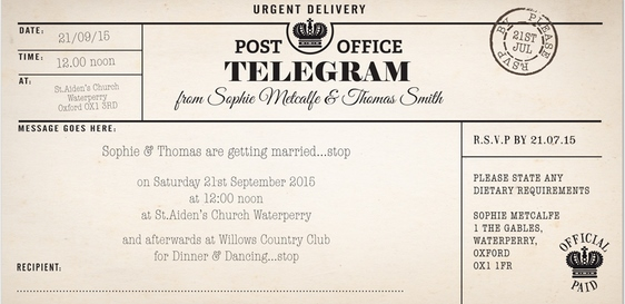 Vintage Wedding Invitations By Paper Themes Telegram