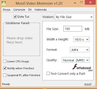 Moo0 Video Minimizer İndir - Video Boyutu Küçültme