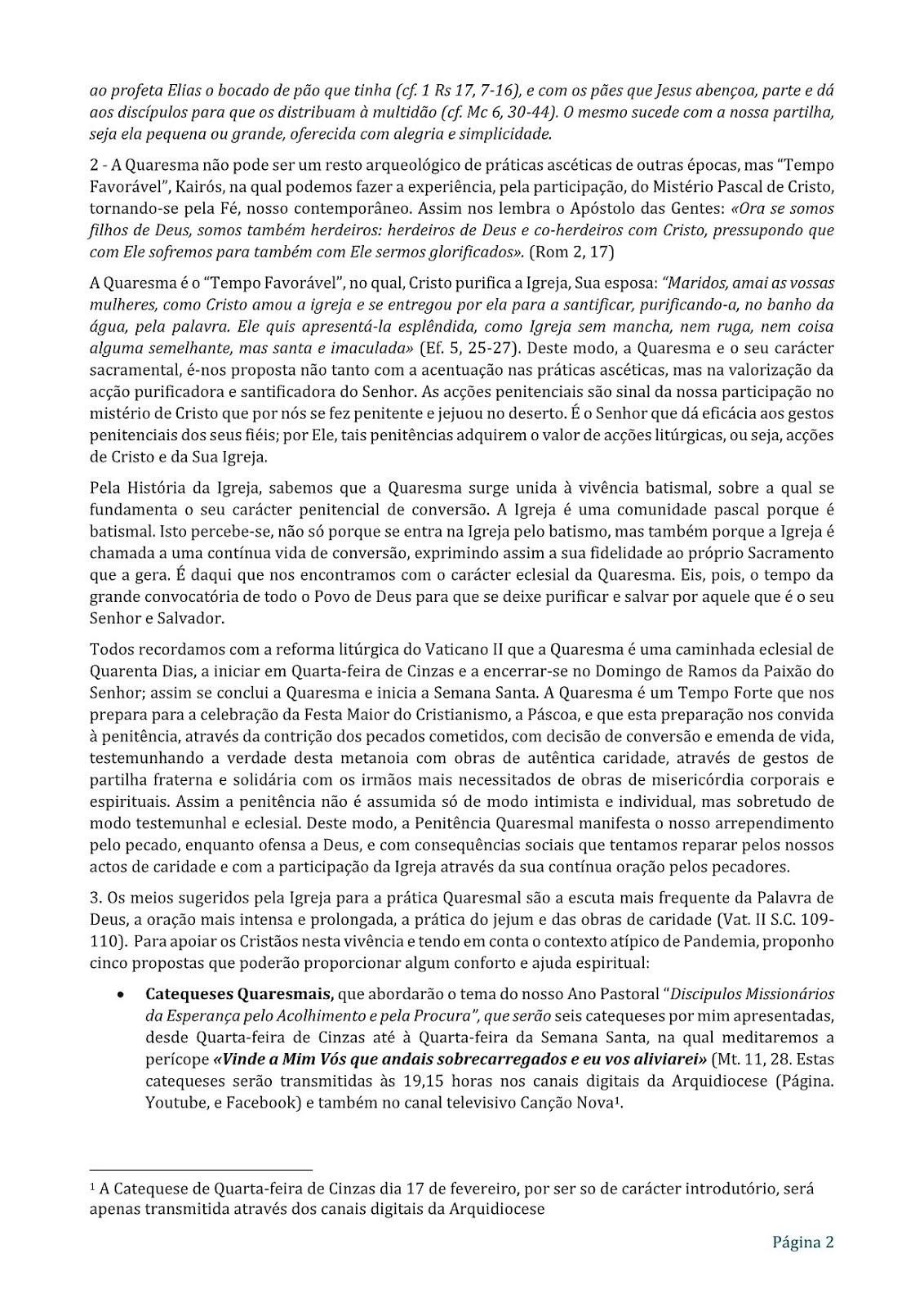 MENSAGEM PARA A QUARESMA - 2/3