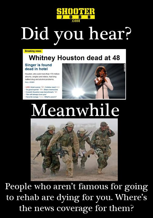 people remember witeny houston but not our fallen troops